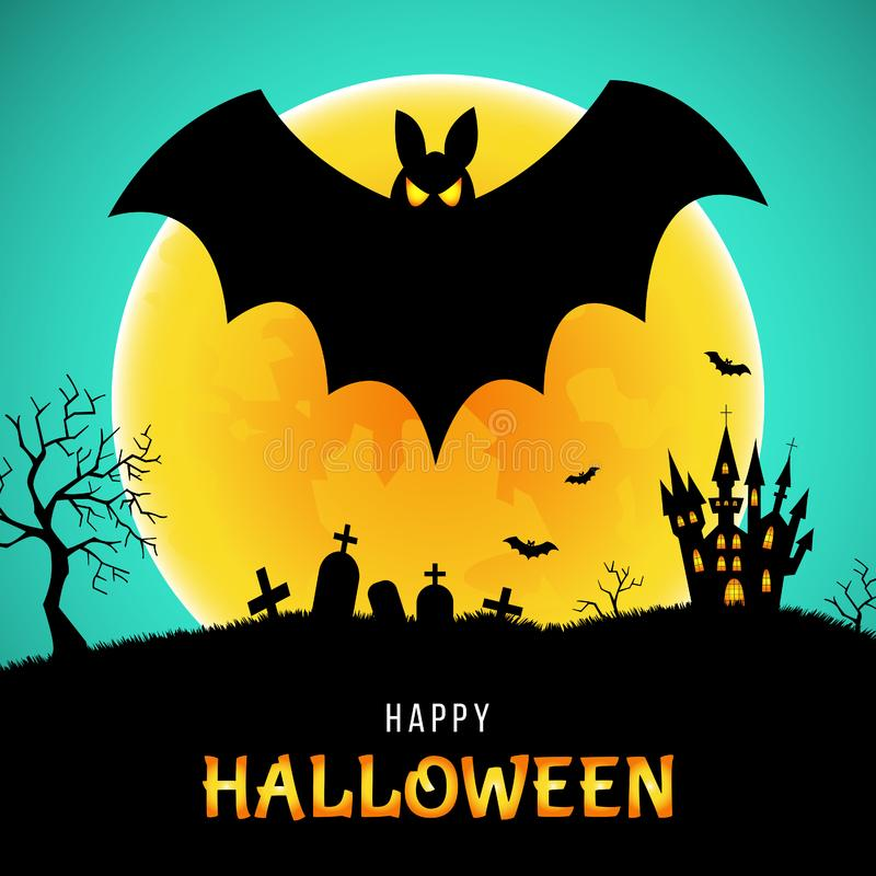 Gelukkige Halloween-groetkaart met knuppel, kasteel en maan stock illustratie