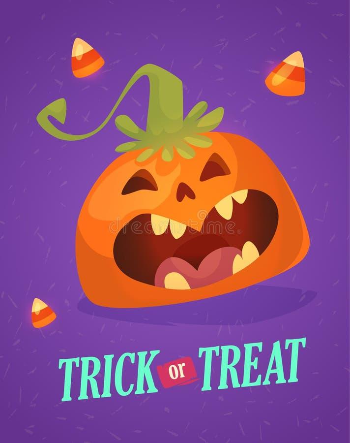 Gelukkige Halloween-groetkaart met leuke pompoen De truc of behandelt vakantiebeeldverhaal vector illustratie