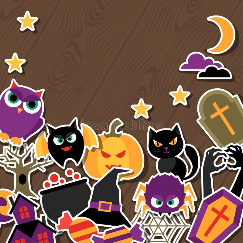 Gelukkige Halloween-groetkaart met vlakke sticker stock illustratie