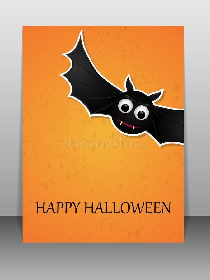 Gelukkige Halloween-groetkaart met vliegende knuppel vector illustratie