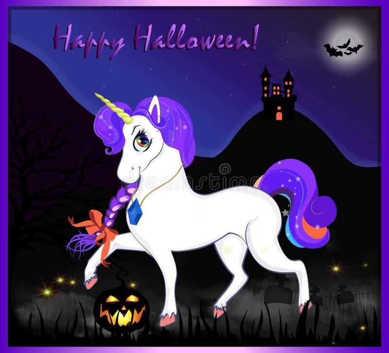 Gelukkige Halloween-groetkaart van magische eenhoorn op de achtergrond van het nachtlandschap vector illustratie