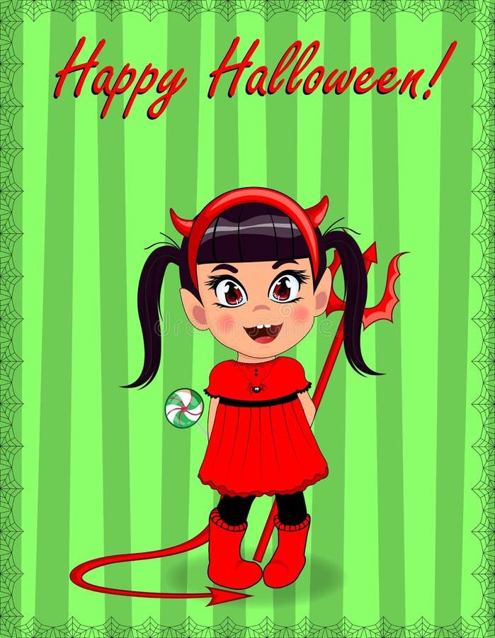 Gelukkige Halloween-groetkaart van weinig leuk ongehoorzaam babymeisje in rood duivelskostuum vector illustratie