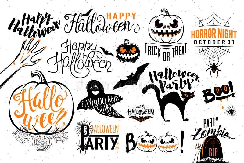 Gelukkige Halloween-het etiketmalplaatjes van het vieringspictogram stock illustratie