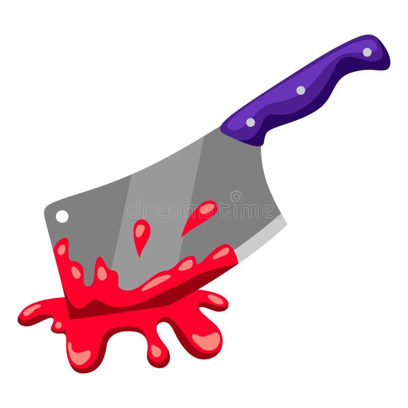 Gelukkige Halloween-illustratie van backsword met bloed stock illustratie
