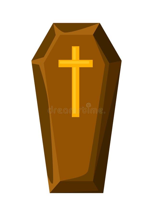 Gelukkige Halloween-illustratie van doodskist met kruis royalty-vrije illustratie