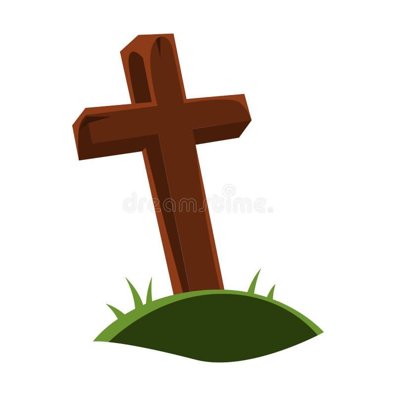 Gelukkige Halloween-illustratie van ernstig kruis vector illustratie