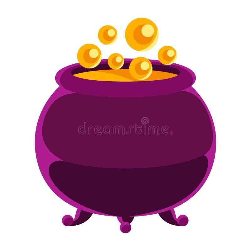 Gelukkige Halloween-illustratie van heksenketel met drankje stock illustratie
