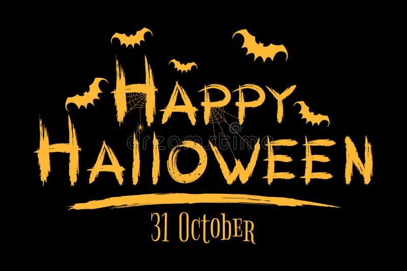 Gelukkige Halloween-inschrijving De borstel van Grunge Vliegende knuppels en een spin op een Web De Banner van de tekst abstracte royalty-vrije illustratie
