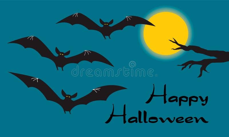 Gelukkige Halloween-kaart met enge vliegende vampieren, gele maan vector illustratie