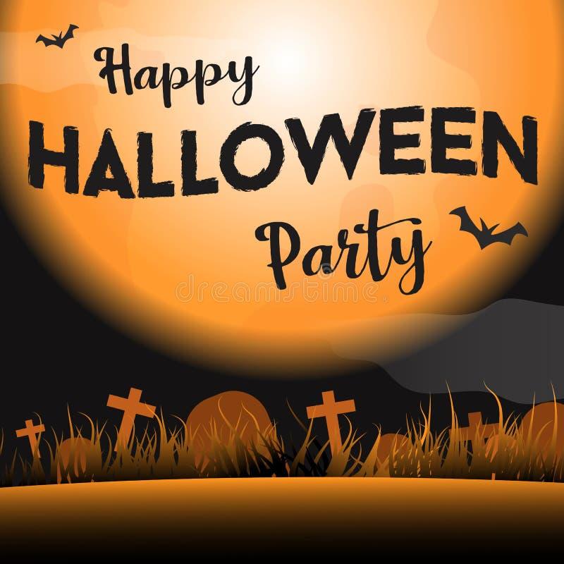 Gelukkige Halloween-partij in de nacht grafische vector als achtergrond vector illustratie