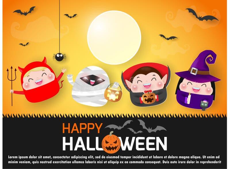 Gelukkige Halloween-partij met groepskinderen die Halloween-kostuums van document kunststijl, Malplaatje voor reclamefolder sprin royalty-vrije illustratie