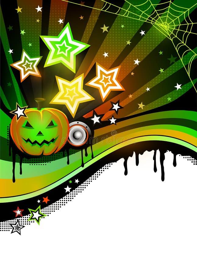 Gelukkige Halloween-partijaffiche met pompoenen en plaats voor tekst vector illustratie