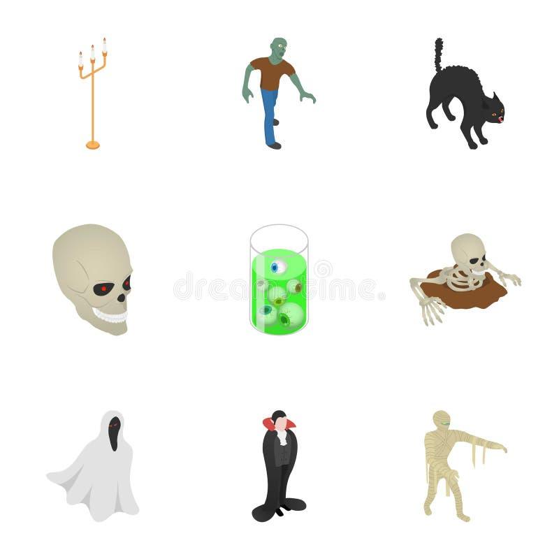 Gelukkige Halloween-pictogramreeks, isometrische stijl stock illustratie