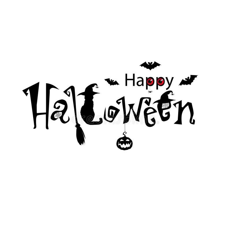 Gelukkige Halloween-Tekstbanner, vector Zwarte verfraaide tekst stock illustratie
