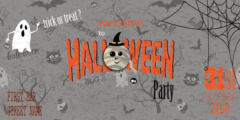 Gelukkige Halloween-uitnodigingskaart met spiderweb en tekst vector illustratie