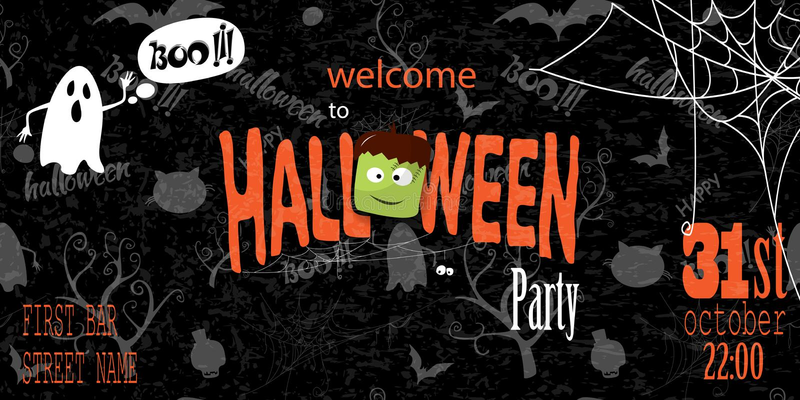 Gelukkige Halloween-uitnodigingskaart met spiderweb en tekst stock illustratie