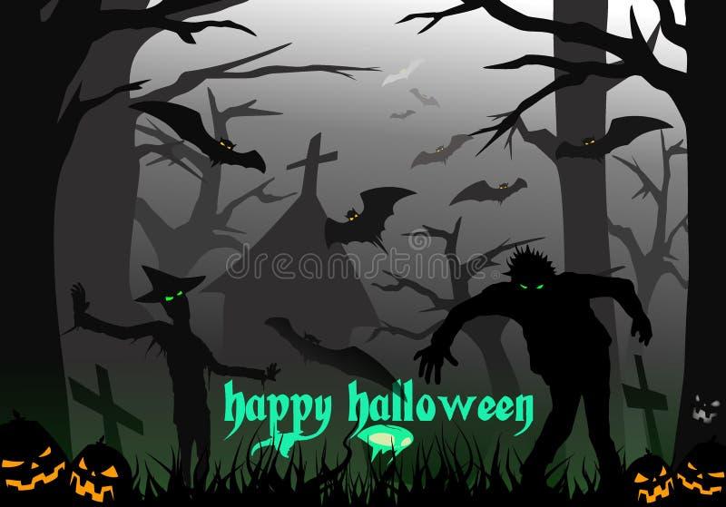 Gelukkige Halloween-Zombieën Forest Skull Batmans royalty-vrije illustratie