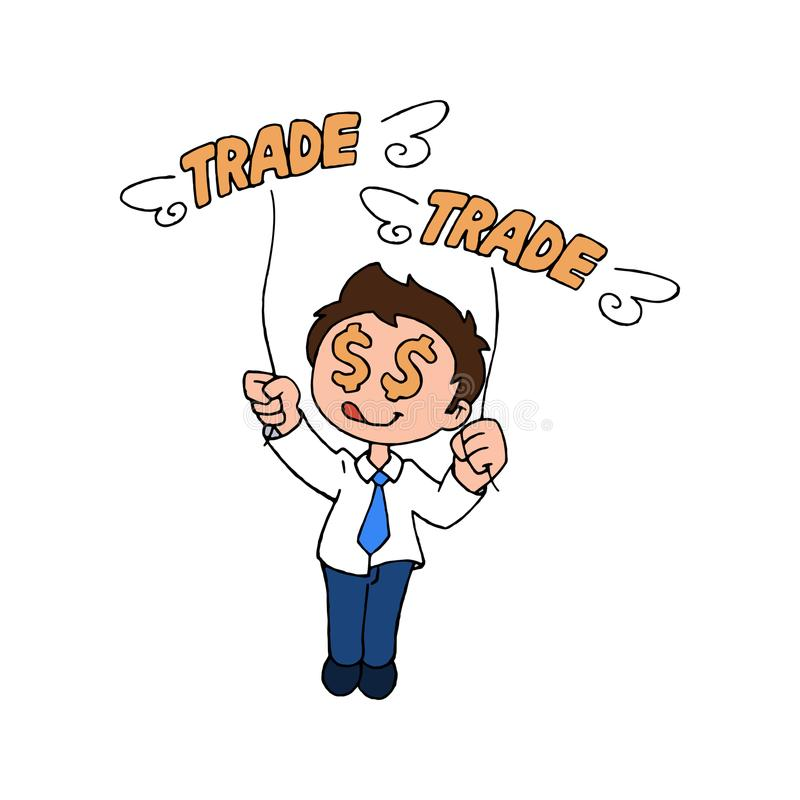 Gelukkige handelaar stock illustratie