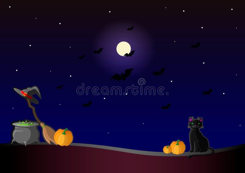 Gelukkige Helloween Vectorillustratie met heksenhoed, pompoen, drankjepot, zwarte kat, maan, en bezem stock illustratie