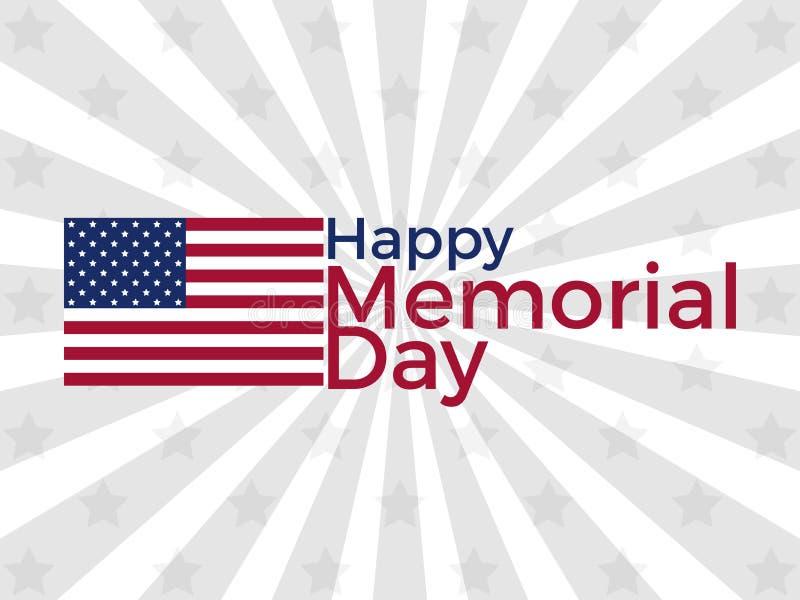 Gelukkige HerdenkingsDag Amerikaanse vlag met de tekst op de achtergrond van de stralen Vector stock illustratie