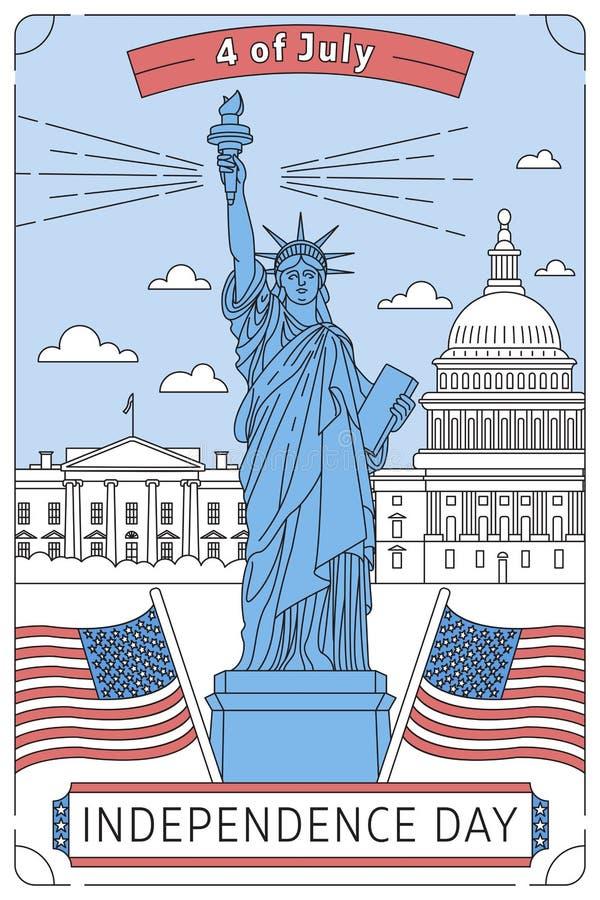 Gelukkige HerdenkingsDag De vector illustreerde groetkaart met sterwit huis, de Congresbouw en Standbeeld van Vrijheid royalty-vrije stock afbeelding