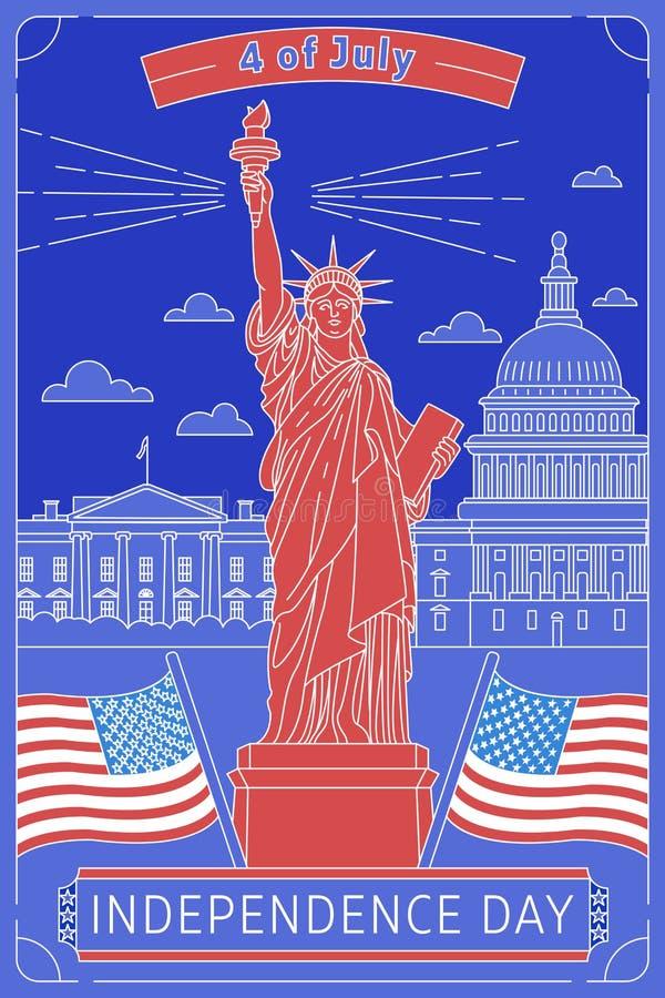 Gelukkige HerdenkingsDag De vector illustreerde groetkaart met sterwit huis, Standbeeld van Vrijheid en de vlag van de V.S. genat stock afbeeldingen