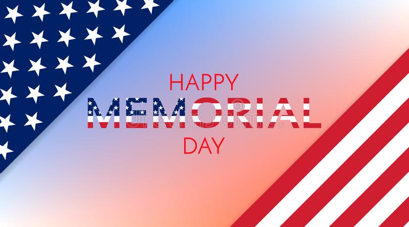 Gelukkige Herdenkingsdagachtergrond De vlagbanner van de V.S. stock illustratie
