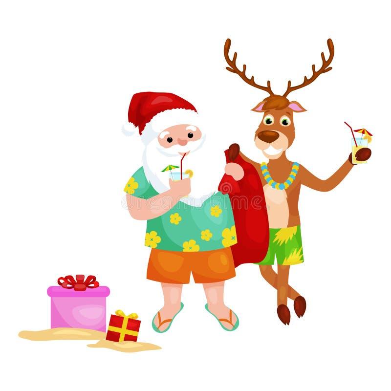 Gelukkige herten en Santa Claus die klaar voor Kerstmispartij worden vector illustratie