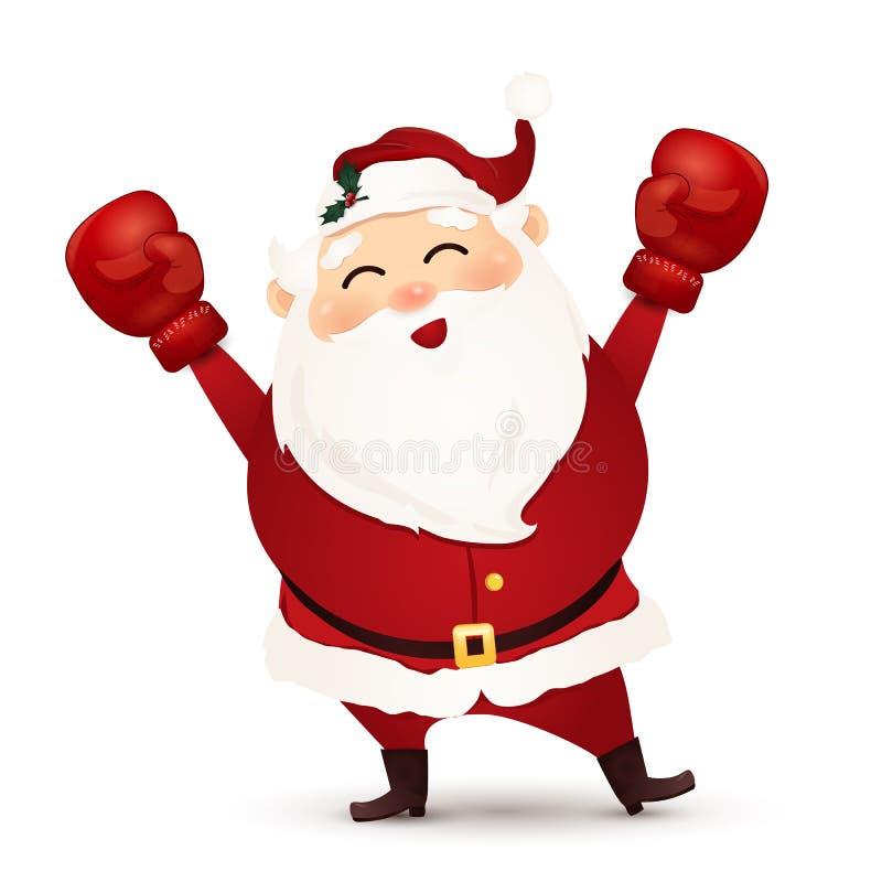 Gelukkige het in dozen doen dag Beeldverhaal Leuke, Grappige Santa Claus met rode die bokshandschoen op witte achtergrond wordt g royalty-vrije illustratie