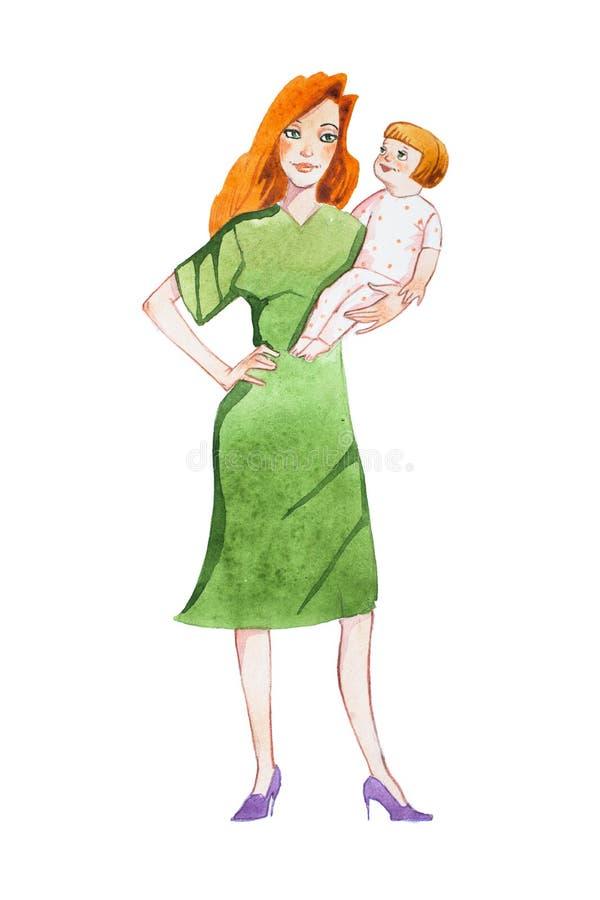 Gelukkige het geven beeldverhaalmoeder het besteden tijd met haar kind, holding die, het spreken, met hem spelen stock illustratie