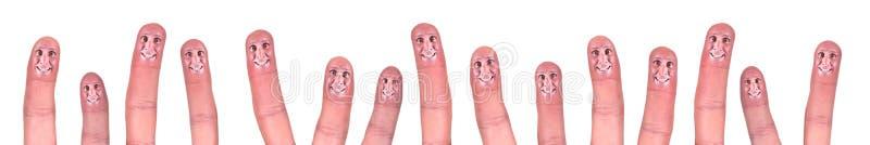 Gelukkige het Glimlachen Concept van het bedrijfs van het Groepswerk Vingers stock afbeelding