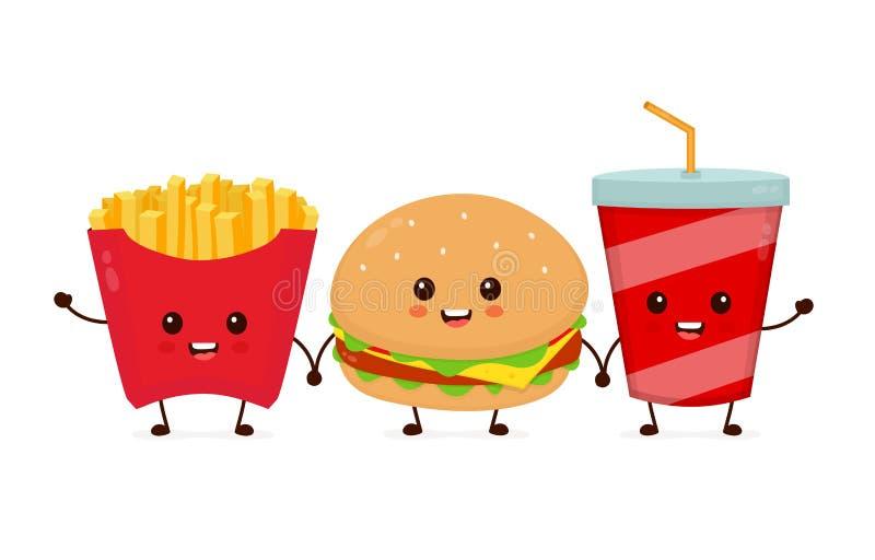 Gelukkige het glimlachen grappige leuke hamburger, soda vector illustratie