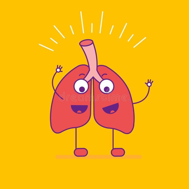 Gelukkige het glimlachen longen logotype Het vrolijke embleem van het beeldverhaalkarakter binnen stock illustratie
