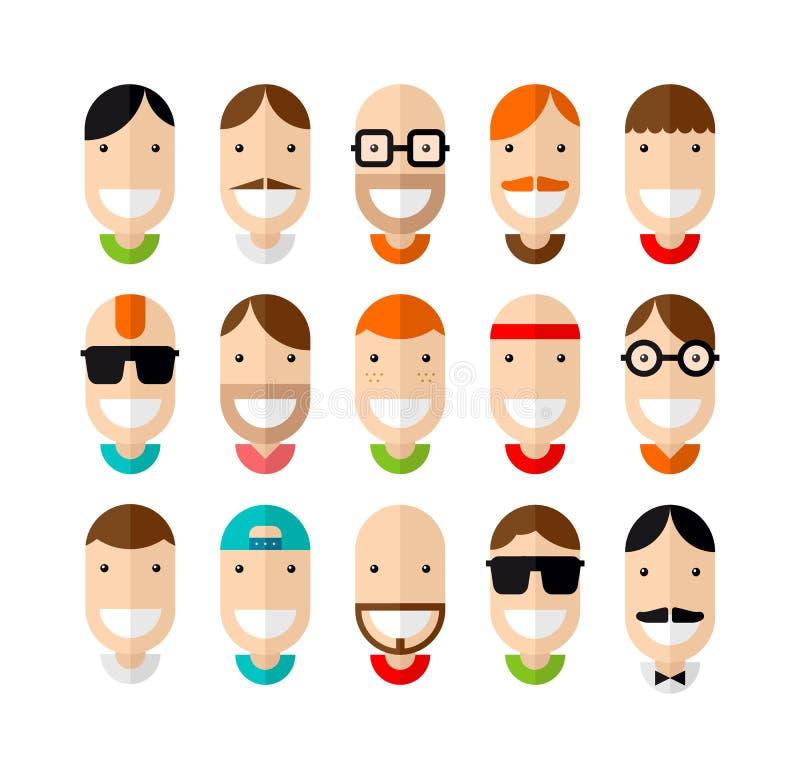 Gelukkige het glimlachen mannelijke geplaatste gezichten royalty-vrije illustratie
