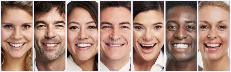 Gelukkige het glimlachen mensengezichten royalty-vrije stock afbeeldingen