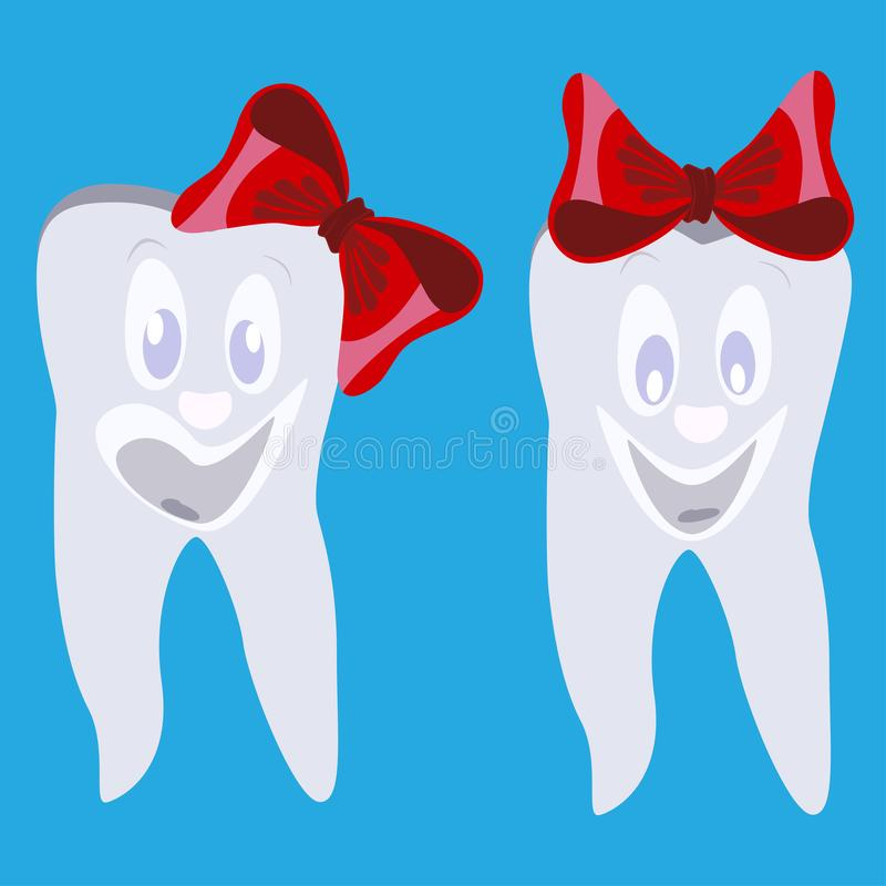 Gelukkige het glimlachen tanden met rode bogen vector vlakke illustratie stock illustratie