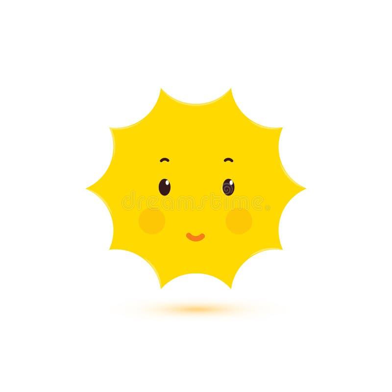 Gelukkige het Glimlachen Zon, vector geïsoleerd pictogram Leuk glans vorm Het conceptontwerp van de Kawaiistijl Embleemmalplaatje stock illustratie