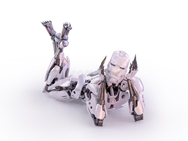 Gelukkige het liggen robot in speelse stemming 3D Illustratie royalty-vrije illustratie