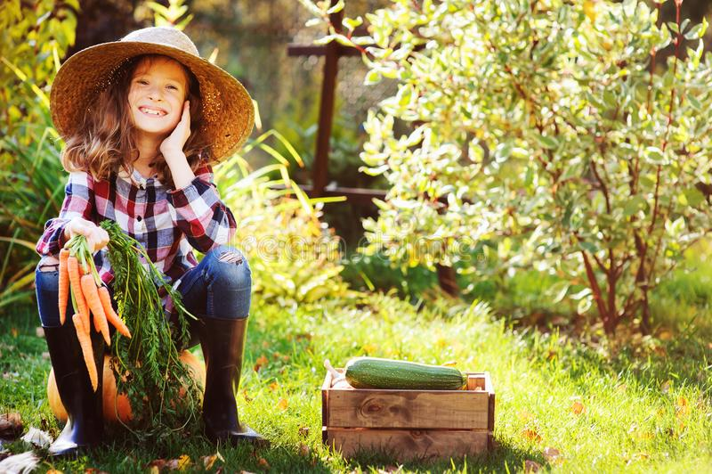 Gelukkige het meisjeszitting van het landbouwerskind met de herfstoogst in de tuin royalty-vrije stock foto
