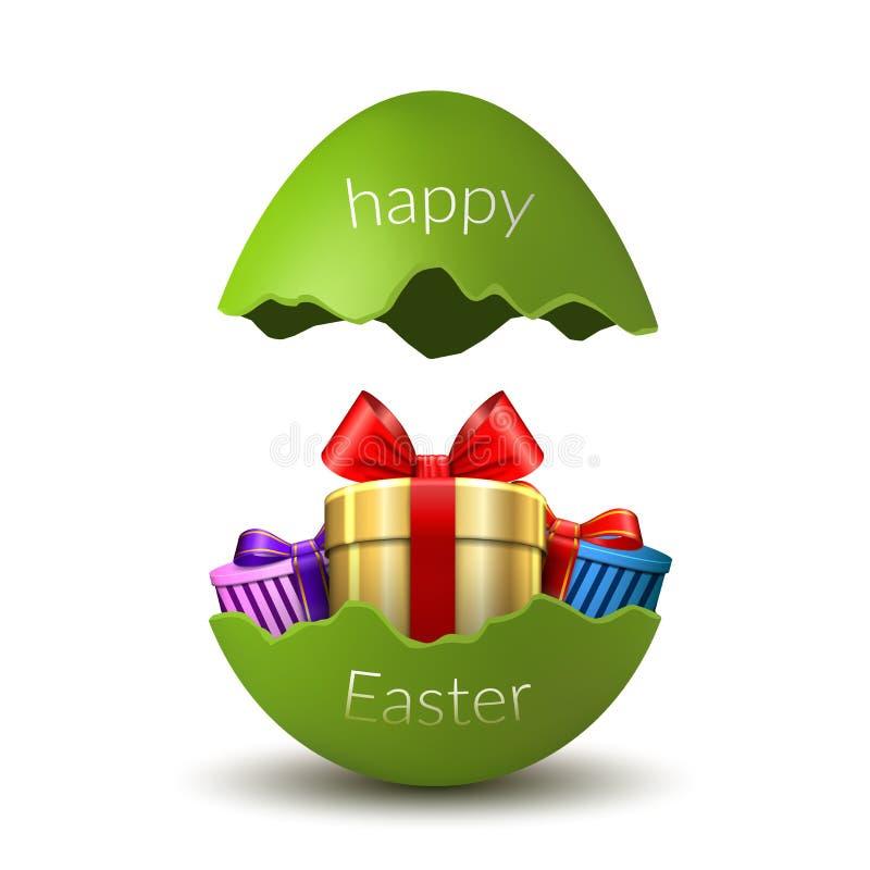 Gelukkige het paaseiverrassing van de giftdoos Het gebroken groene 3D ei van Pasen, dat op witte achtergrond wordt geïsoleerd De  royalty-vrije illustratie