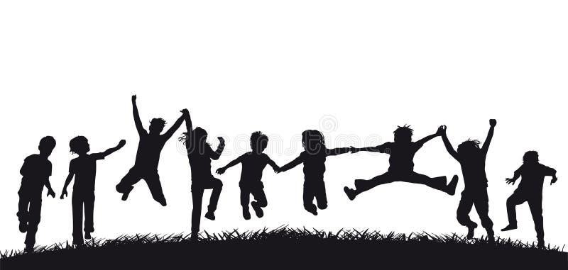 Gelukkige het springen kinderensilhouetten royalty-vrije illustratie