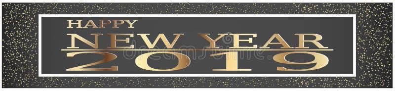 Gelukkige het stof vectorillustratie van de Nieuwjaar 2019 begroetende Gouden schitterende spat vector illustratie