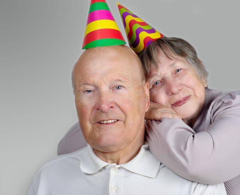 gelukkige hogere man en vrouw royalty-vrije stock foto's