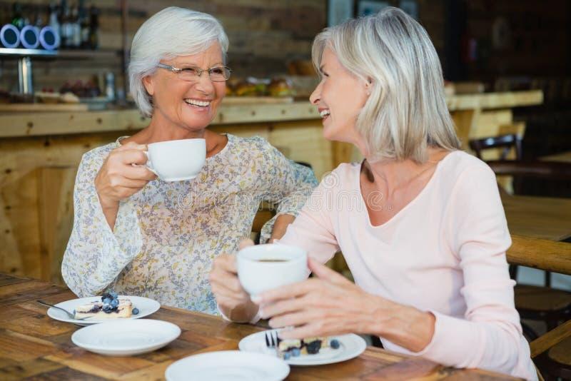 Gelukkige hogere vrienden die koffie en ontbijt hebben royalty-vrije stock fotografie