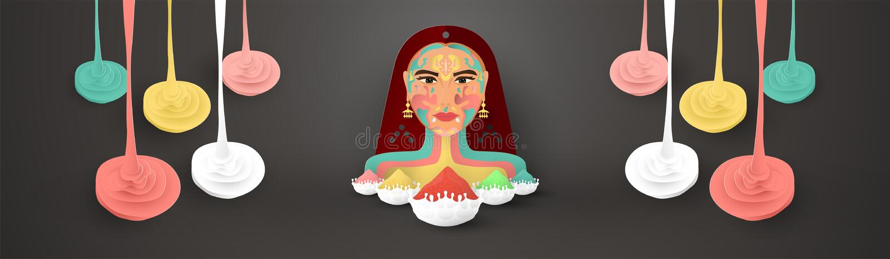 Gelukkige Holi, festival van kleuren Het ontwerp van het malplaatjeelement voor malplaatje, banner, affiche, groetkaart Vectorill stock illustratie