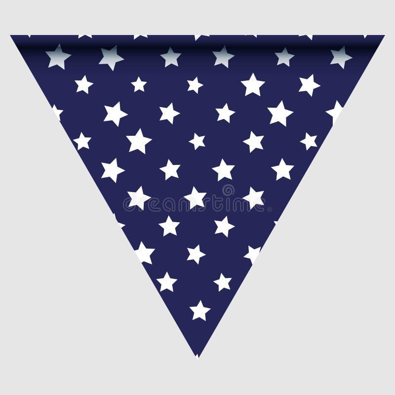 Gelukkige holyday dag driehoekige vlag voor vlakfestivallen met rode, blauwe en witte kleurensterren, geruite strepen, chevrons f stock illustratie