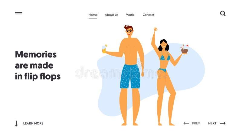 Gelukkige Huiselijke man en Vrouw die van Exotische Cocktails op Kust genieten De wittebroodswekenreis, Mensen heeft Pret op de Z stock illustratie