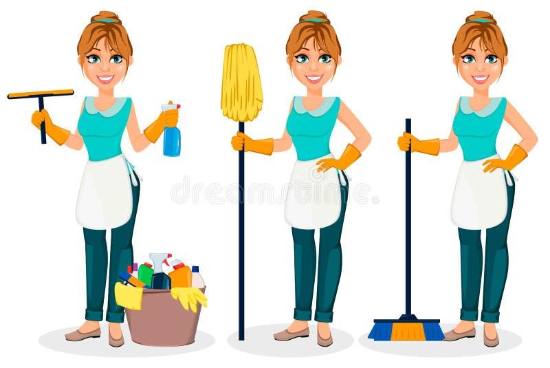 Gelukkige huisvrouw De vrolijke moeder, mooie vrouw, reeks van drie stelt stock illustratie