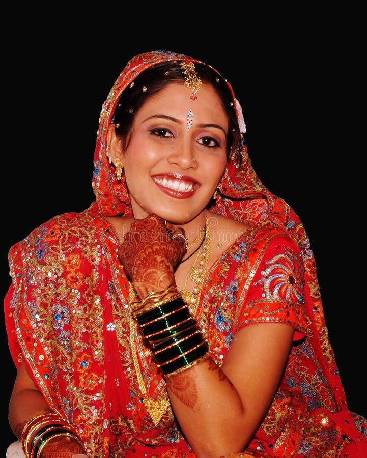 Gelukkige Indische Bruid stock foto's