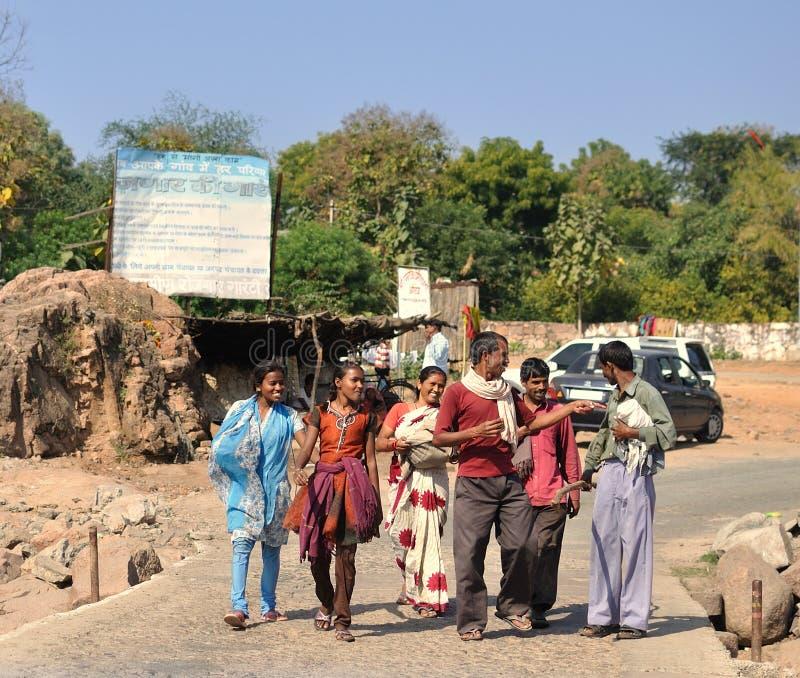 Gelukkige Indische familie in Orcha. India royalty-vrije stock foto